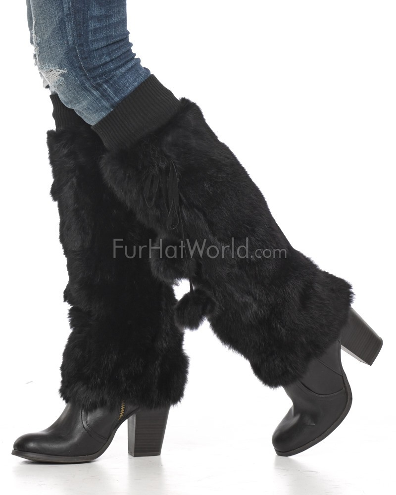 Black Rabbit Fur Stiefel / Beinlinge