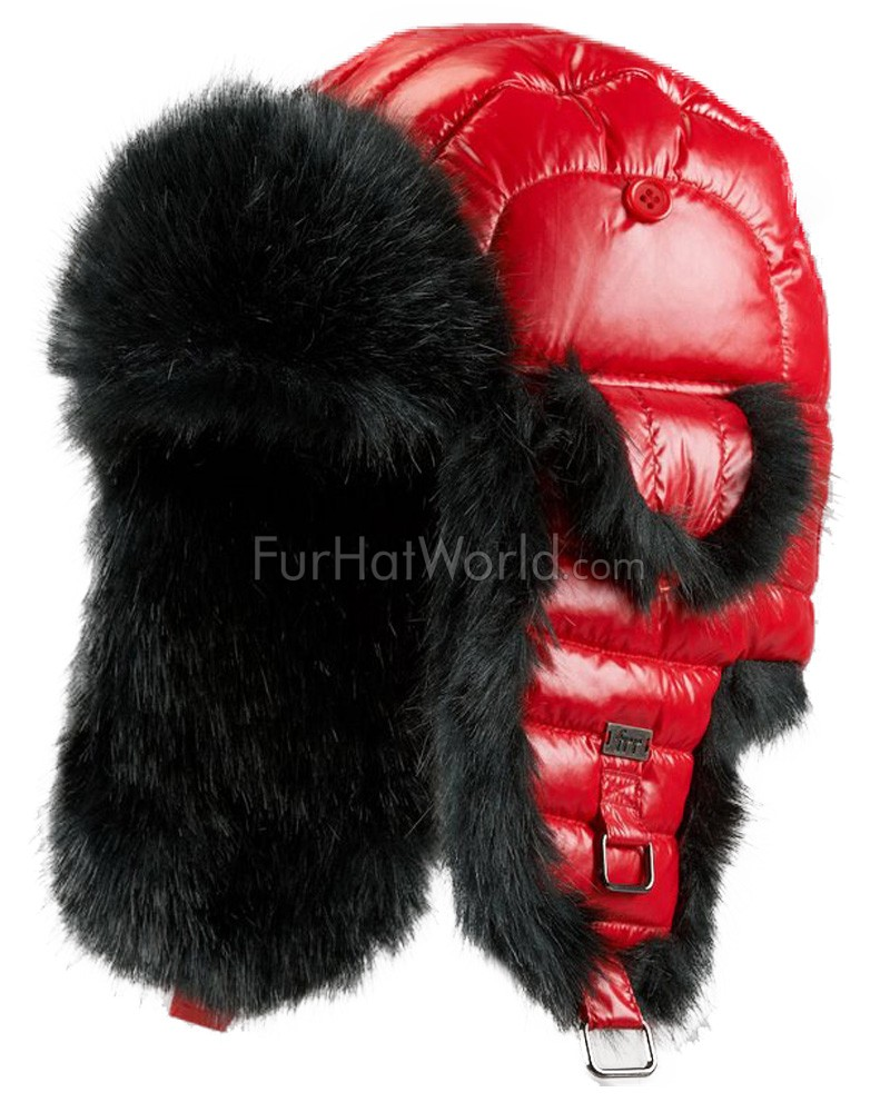 Red Faux Fur Puffer Hat