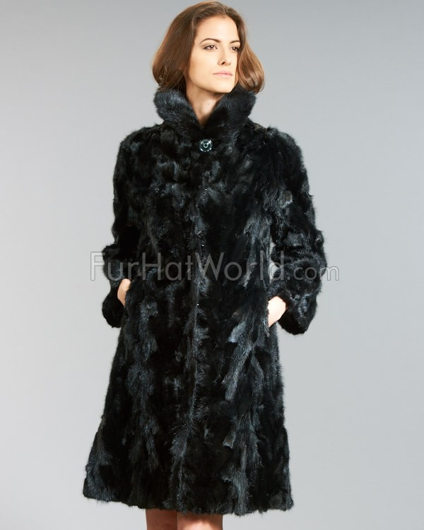 Glänzende Sculptured Mink Fur Coat - Schwarz