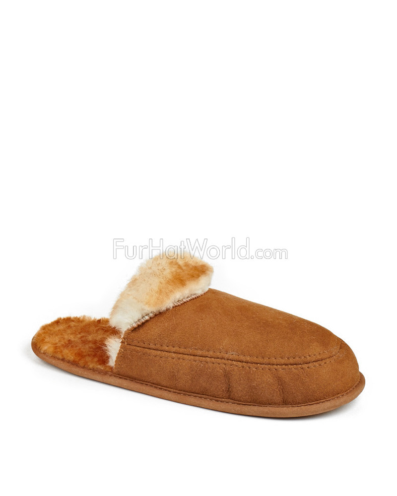 Mens Open Back Schaffell Slipper