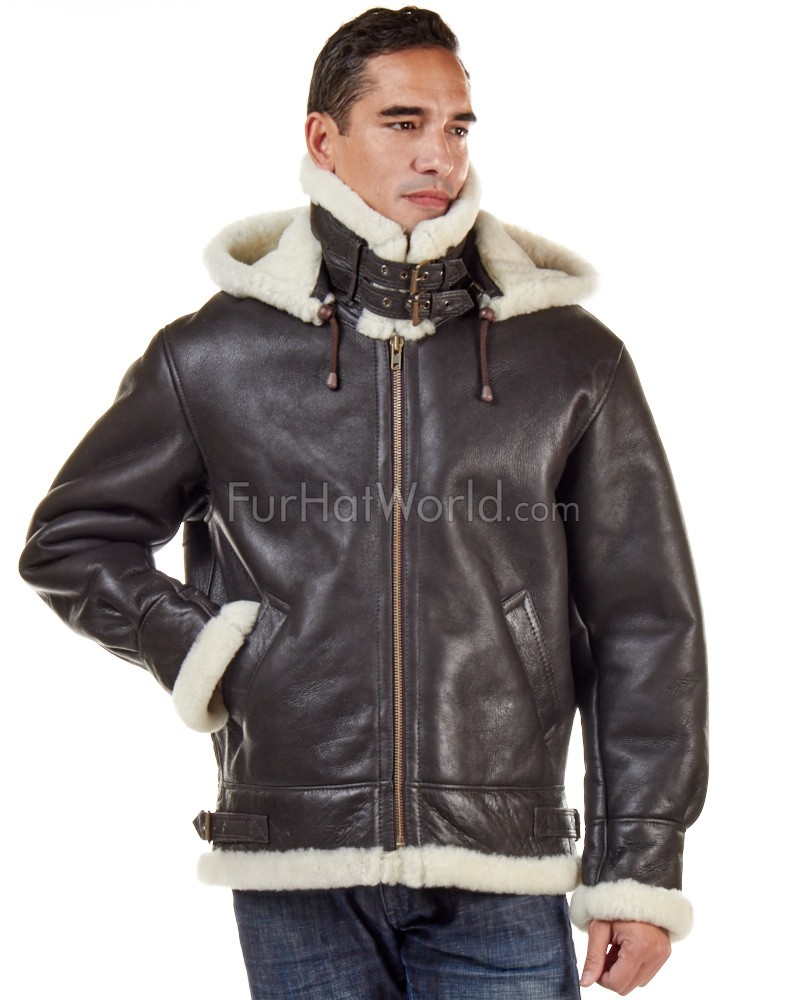 Jack Shearling Bomber mit Zip Hood Out