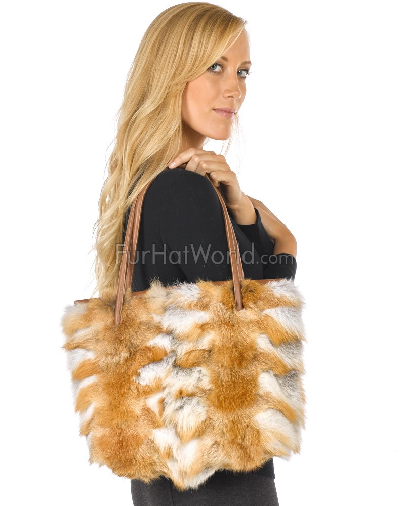 Natural Red Fox-Pelz-Handtasche