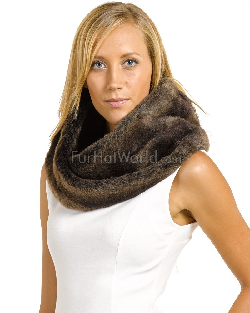 Premium-Faux Fur Snood - Sable