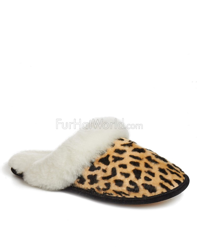 Womens Shearling Lammfell Slipper in Cheetah Print
