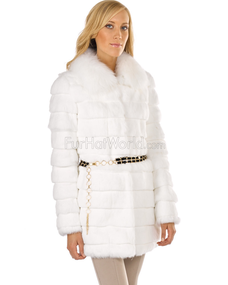 Rabbit Fur Coat con piel de zorro cuello Princess