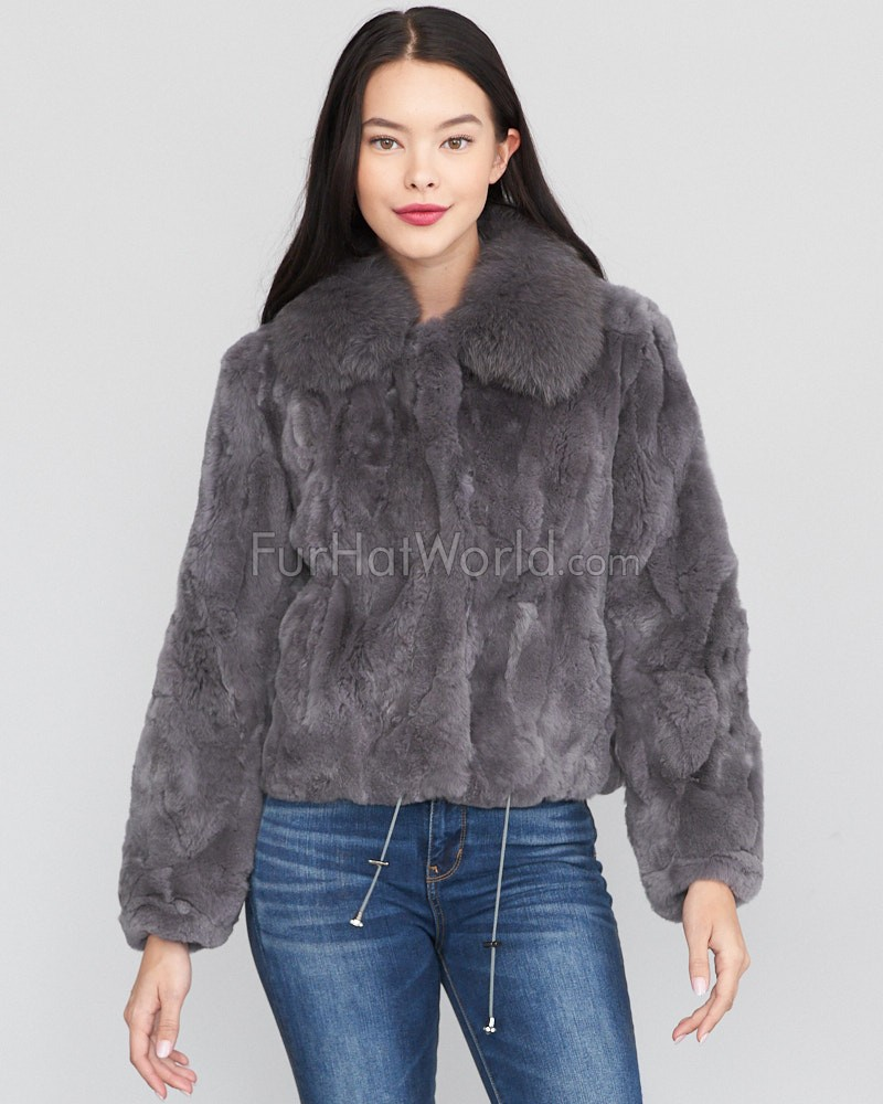 Salem Rex Rabbit Fur Bomber con Fox collar en gris
