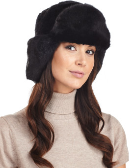 El ruso de Sochi Faux Fur Ladies Hat en Negro