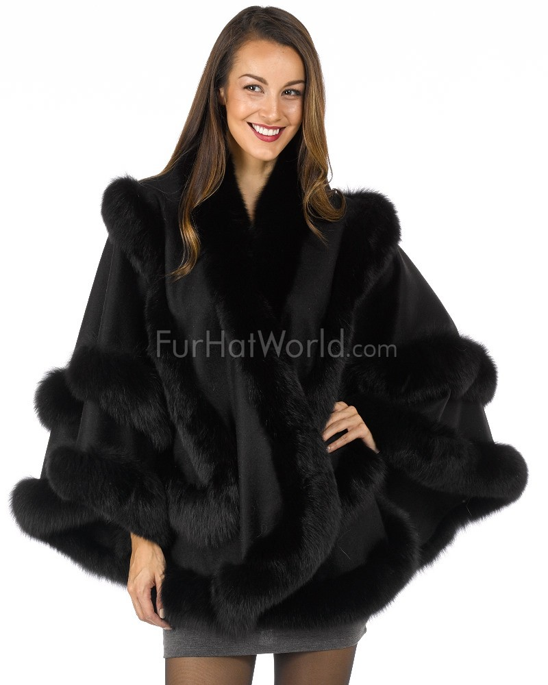 Aurora Cashmere Princess Cape with Double Layer Fox Fur Trim