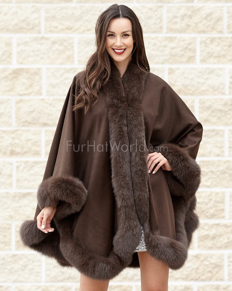 Classic Cashmere Cape With Fox Fur Trim in Chocolate
