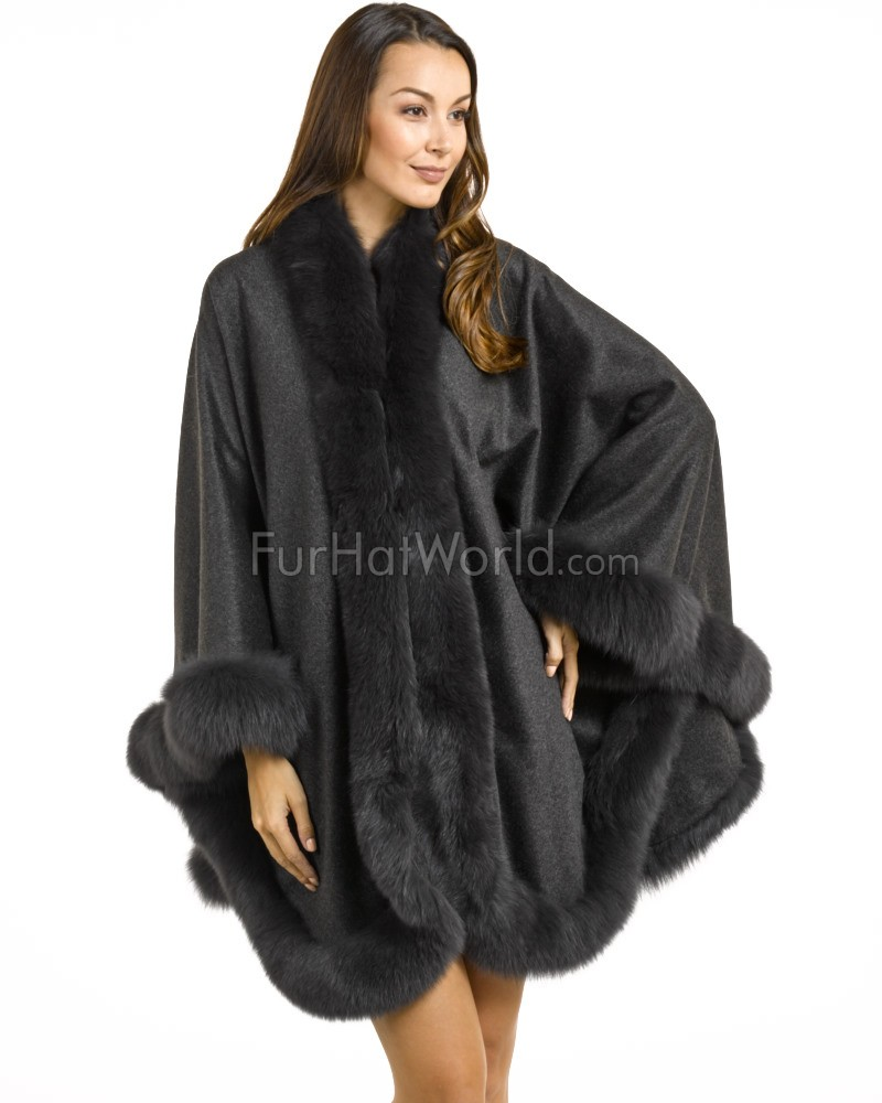 Classic Cashmere Cape With Fox Fur Trim in Charcoal