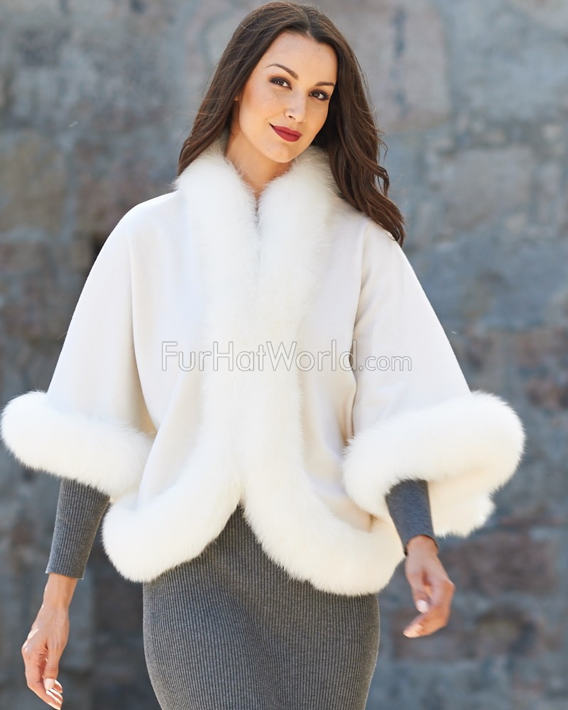 Julie Cashmere Cape with White Fox Fur Trim