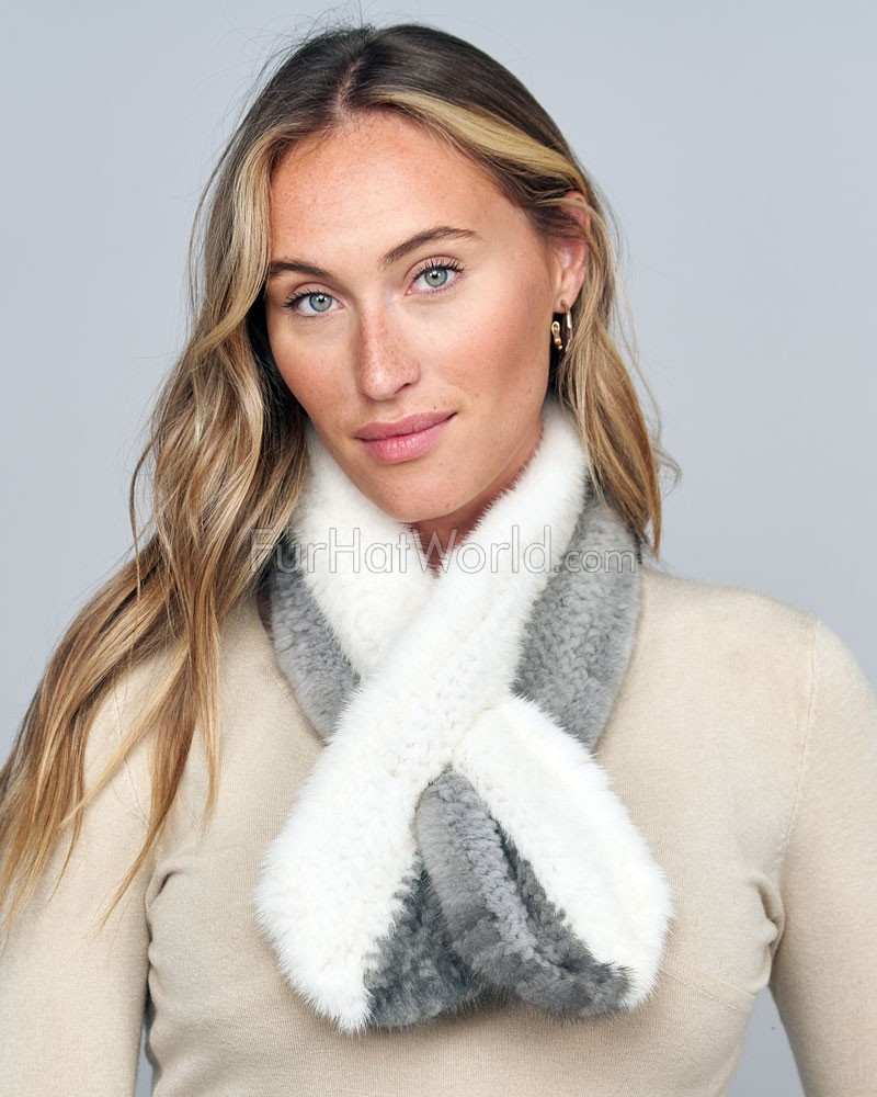 The Icon Grey and White Knit Mink Pull Through Scarf