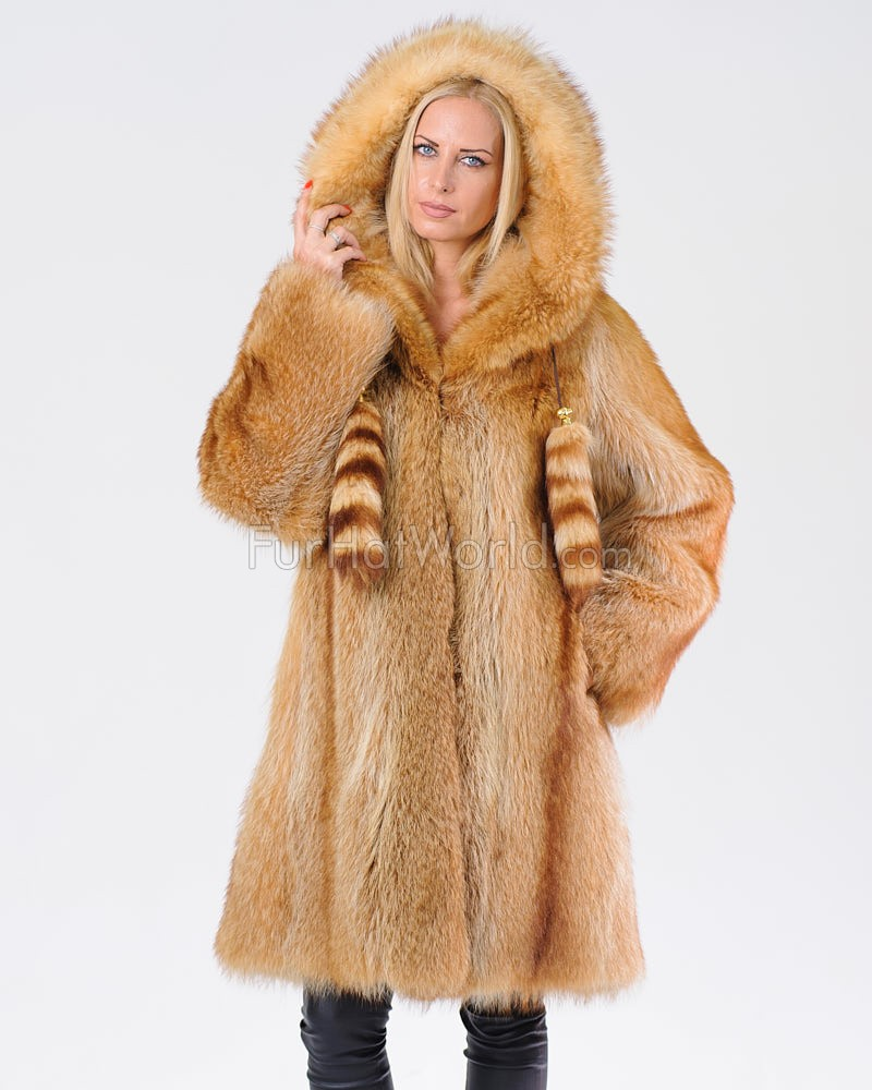 Adalyn Gold Raccoon Fur Coat with Hood