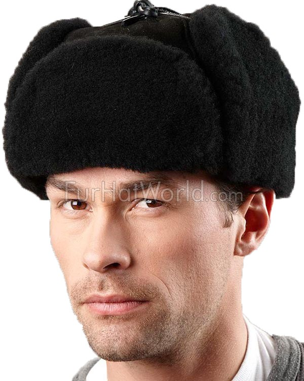 Alaska Shearling Sheepskin Trapper Hat - Black