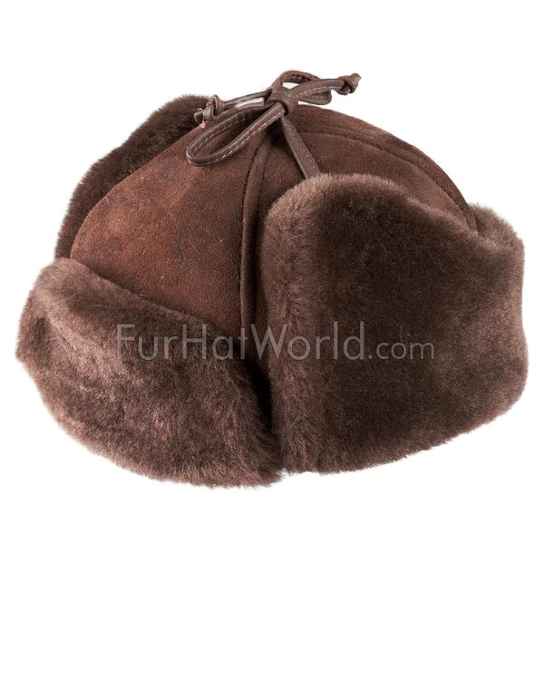 Alaska Shearling Sheepskin Trapper Hat - Brown