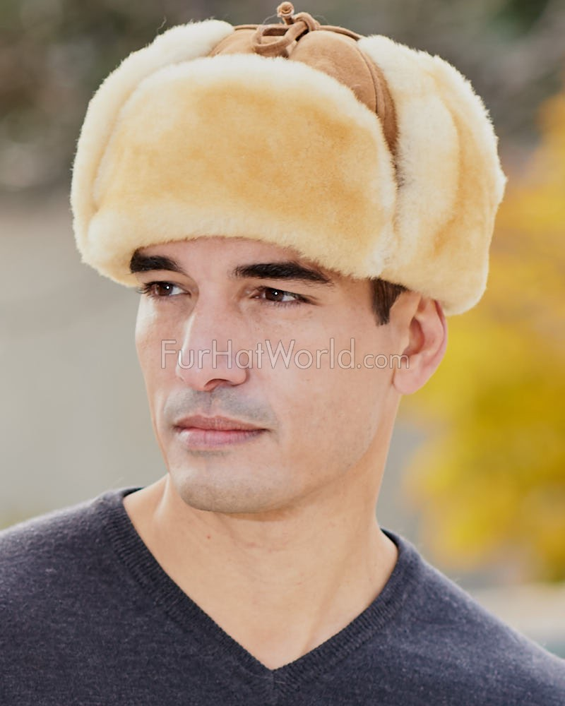 Alaska Shearling Sheepskin Trapper Hat in Tan