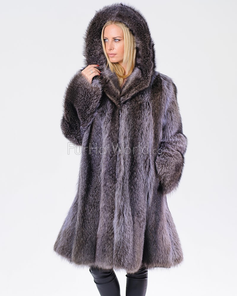 Alyssa Blue Raccoon Fur Coat with Hood