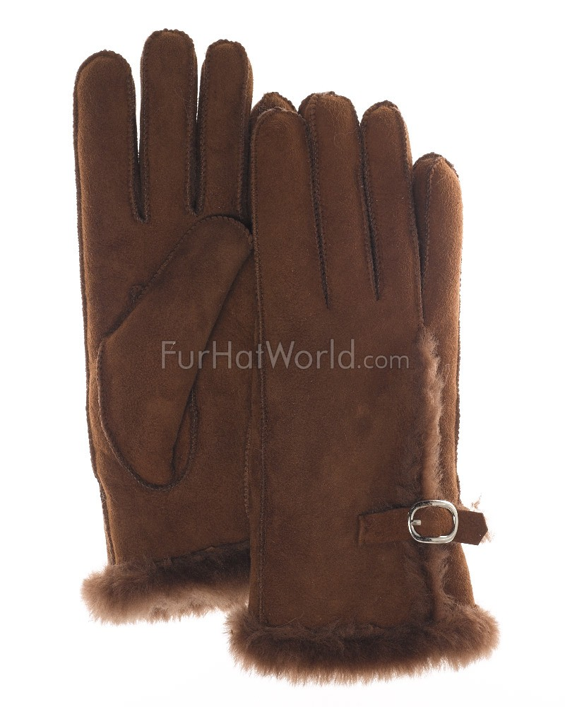Antarctica Shearling Sheepskin Gloves with Buckle in Sable Brown