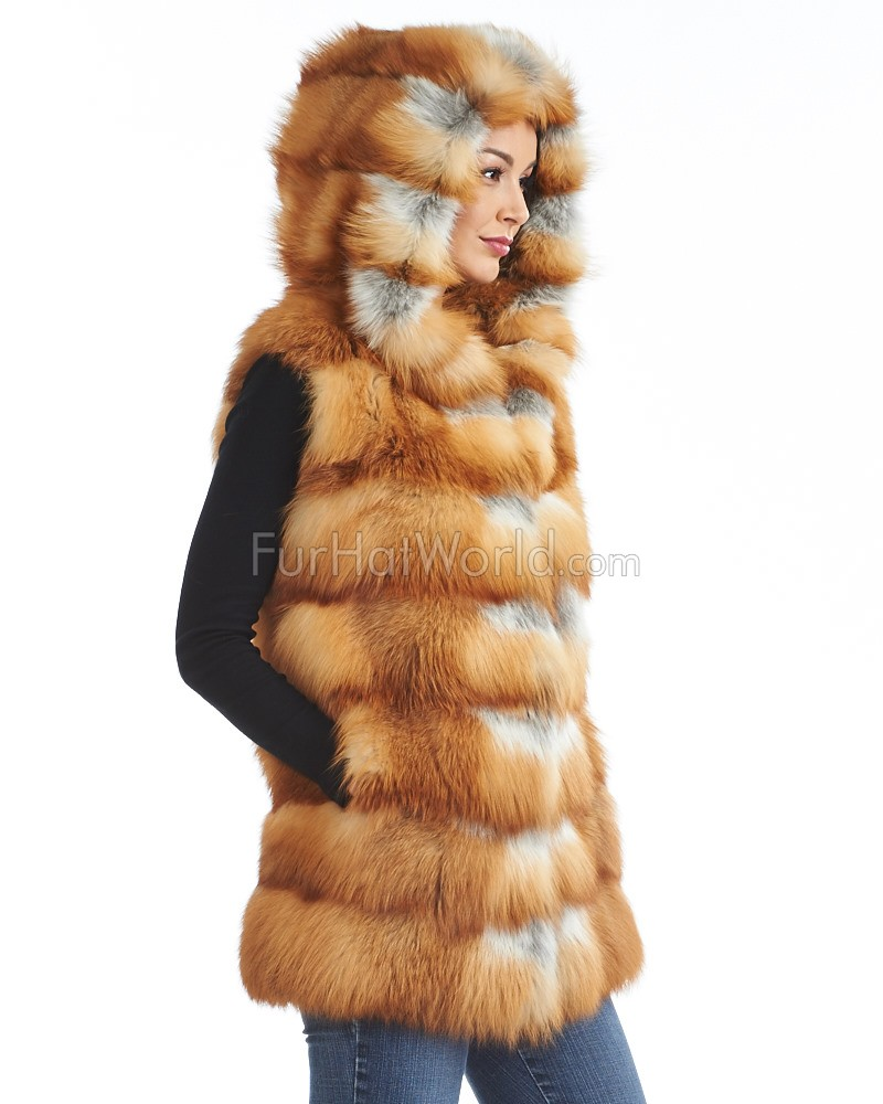 Ariana Red Fox Layered Vest with Hood