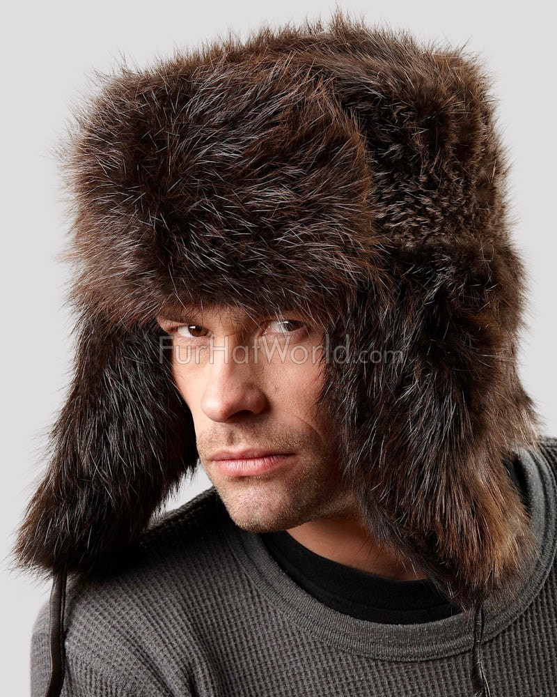 Brown Beaver Full Fur Russian Hat for Men