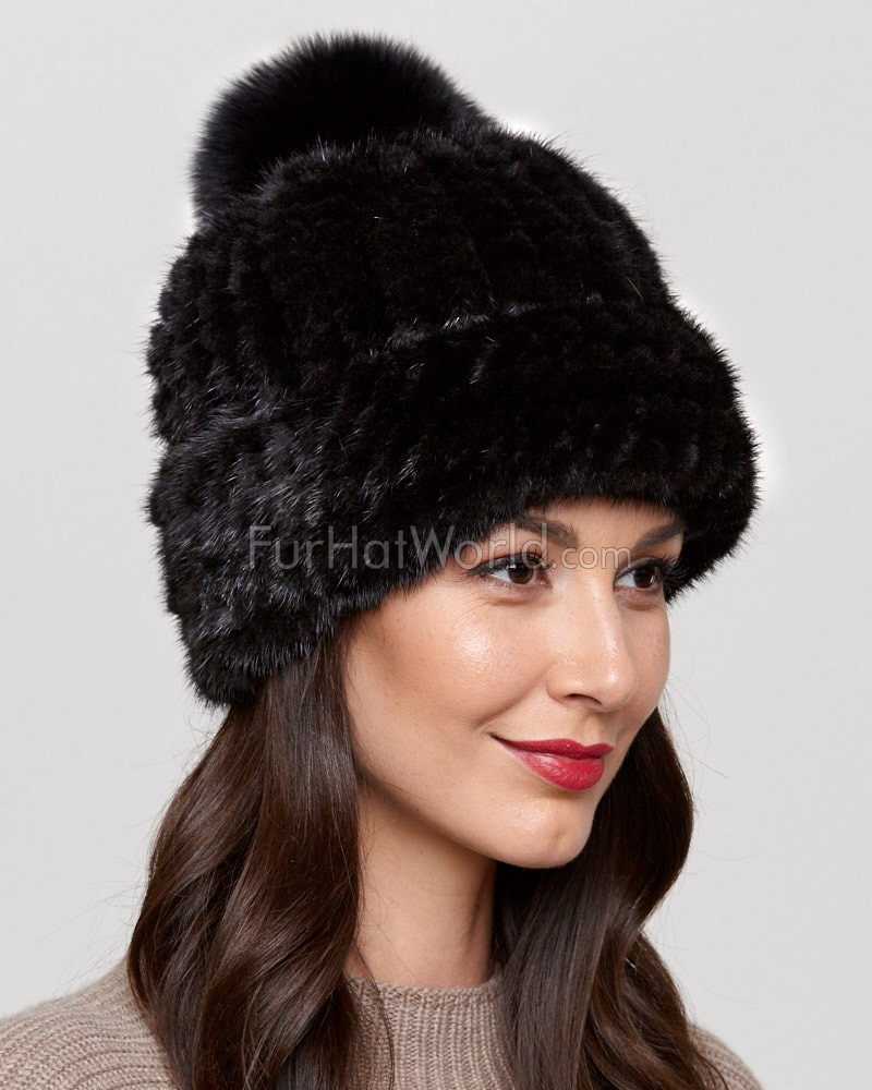Belle Knit Mink Beanie Hat with Fox Fur Pom Pom in Black