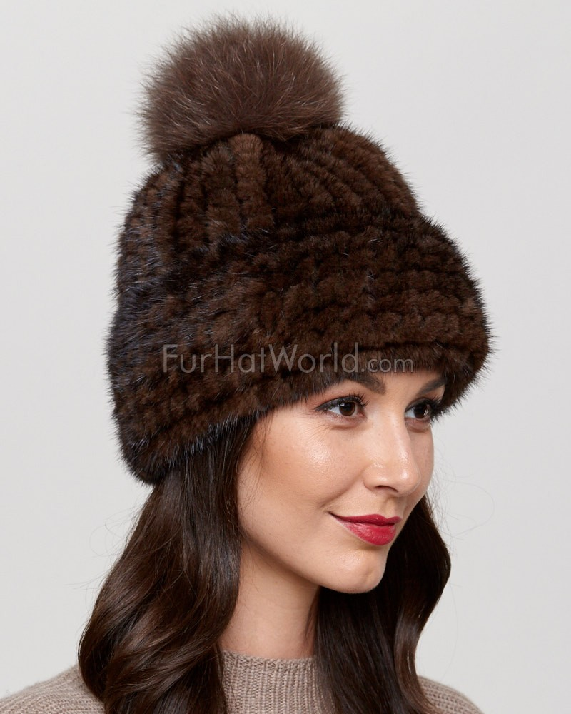 cce54044f3973 Belle Knit Mink Beanie Hat with Fox Fur Pom Pom in Brown ...