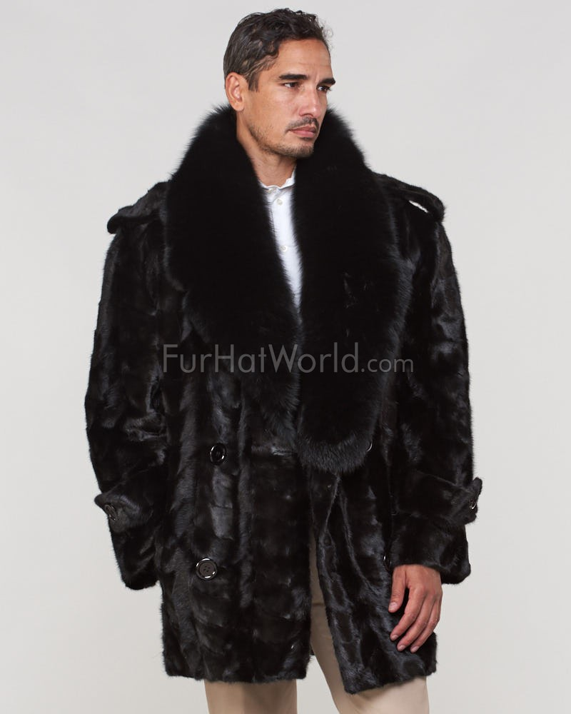 Benjamin Mink Fur Pea Coat for Men in Black