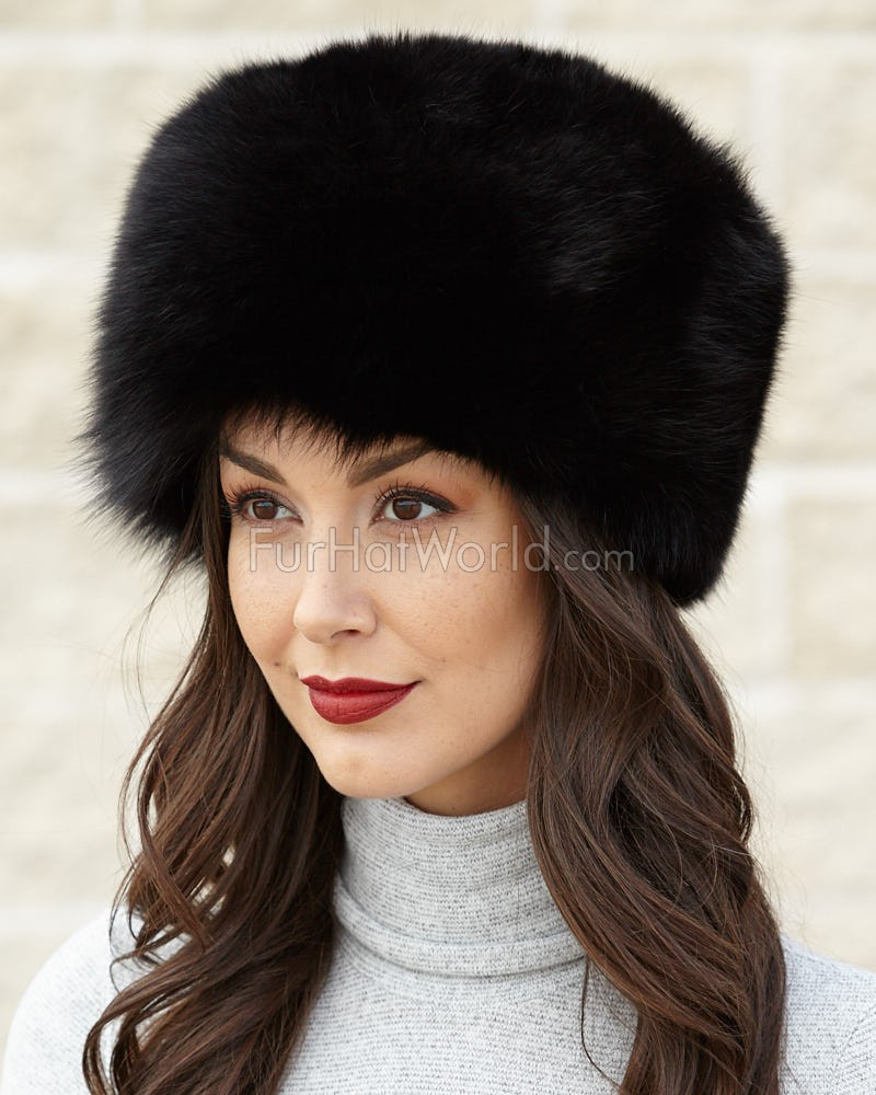 Black Fox All Fur Zhivago Pill Box Fur Hat