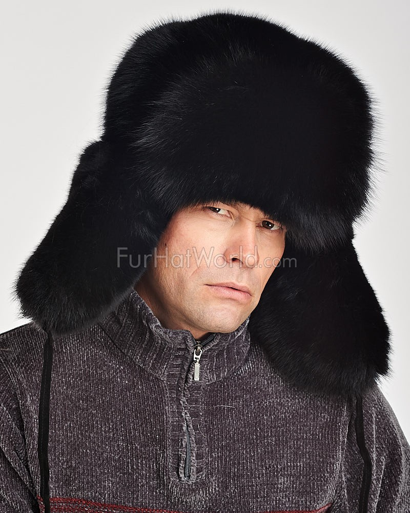 Black Fox Full Fur Russian Hat