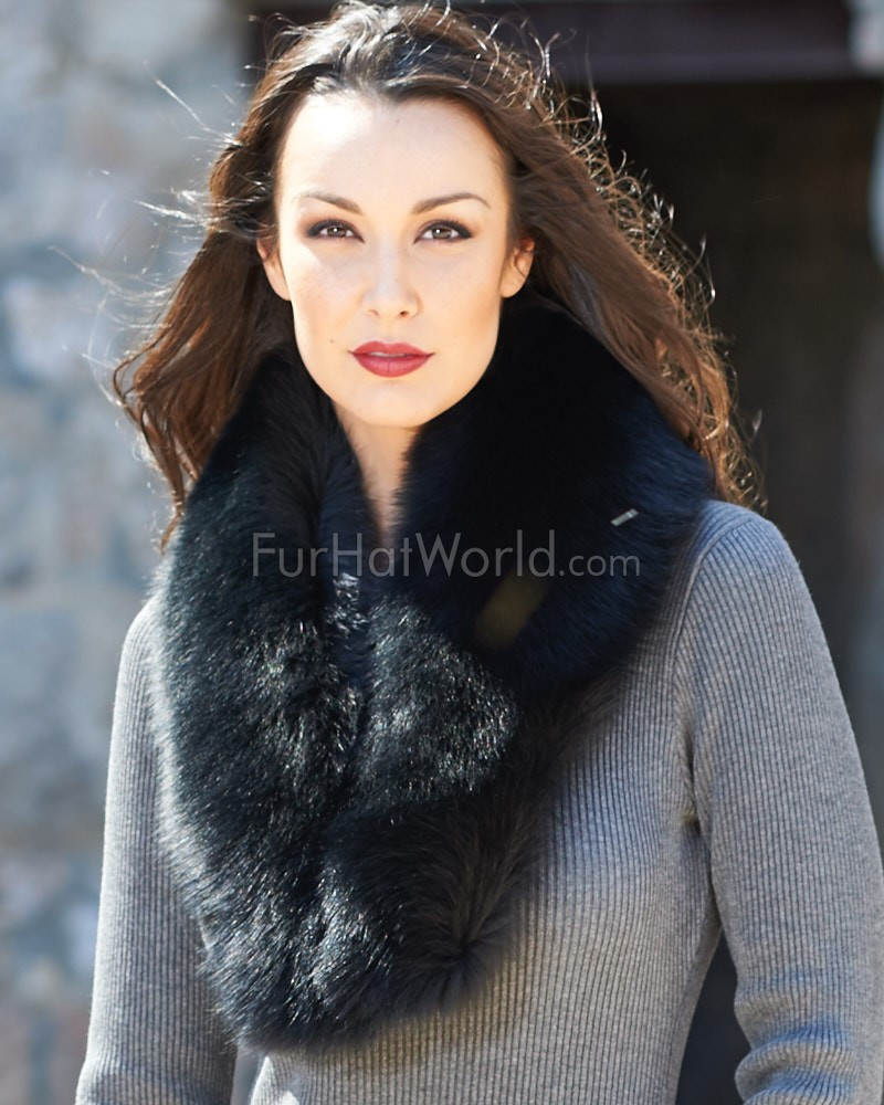 Emma Large Detachable Black Fox Fur Collar