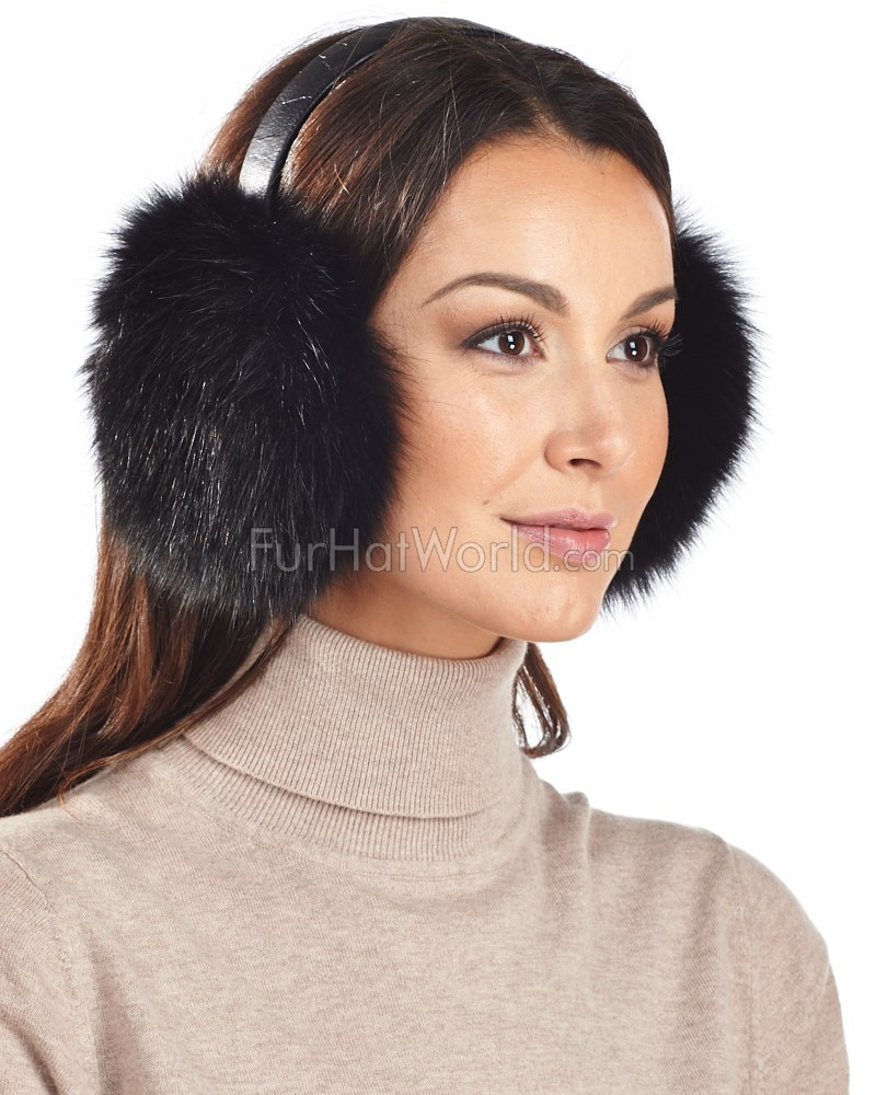 Fox Fur Earmuffs with Leather Band in Black