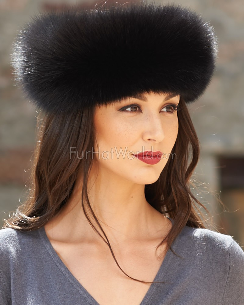 Black Fox Fur Headband  FurHatWorld.com d19b70f4341