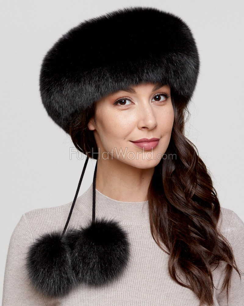 Black Fox Fur Headband with Pom Poms
