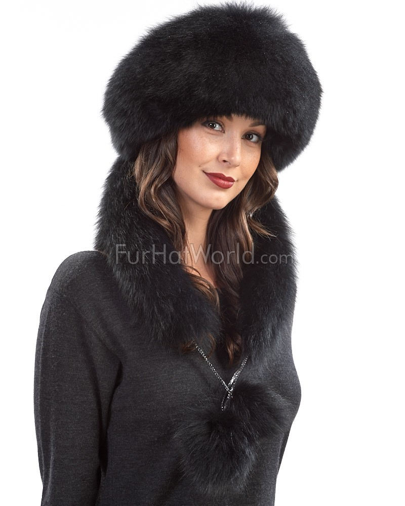 Black Fox Fur Princess Hat