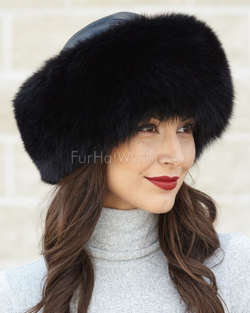 Black Fox Fur Roller Hat with Leather Top
