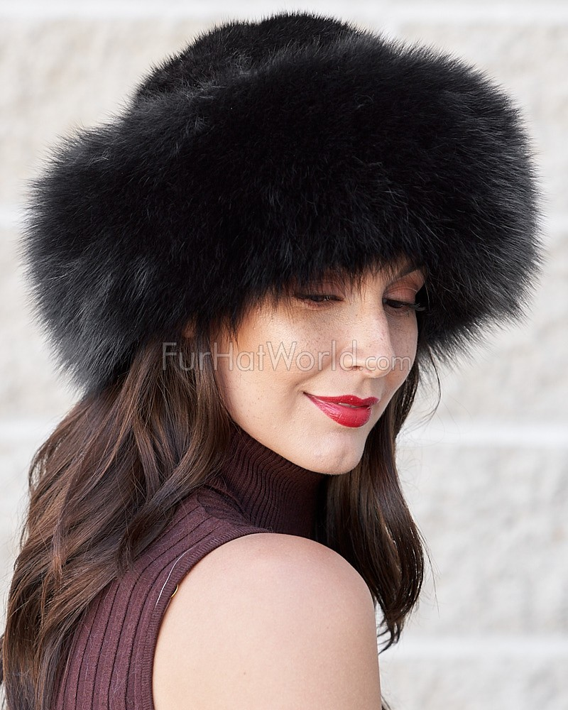 Black Fox Fur Roller Hat with Mink Top