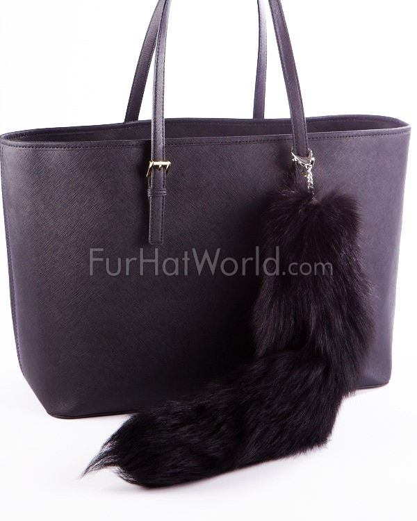 Black Fox Tail Fur Bag Charm