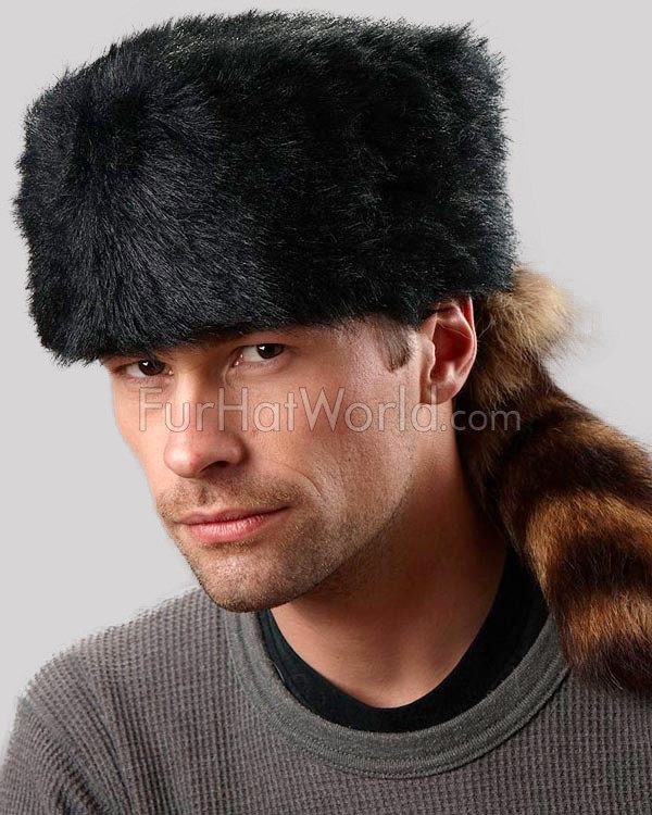 Coonskin Hat: Black Faux Fur Coonskin Cap With Real Raccoon Tail