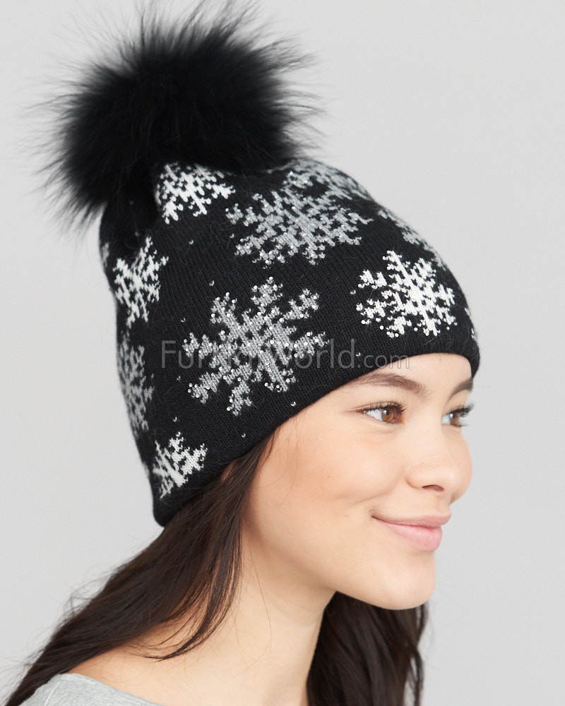 Black Snow Flake Sparkle Beanie Hat with Finn Raccoon Pom Pom