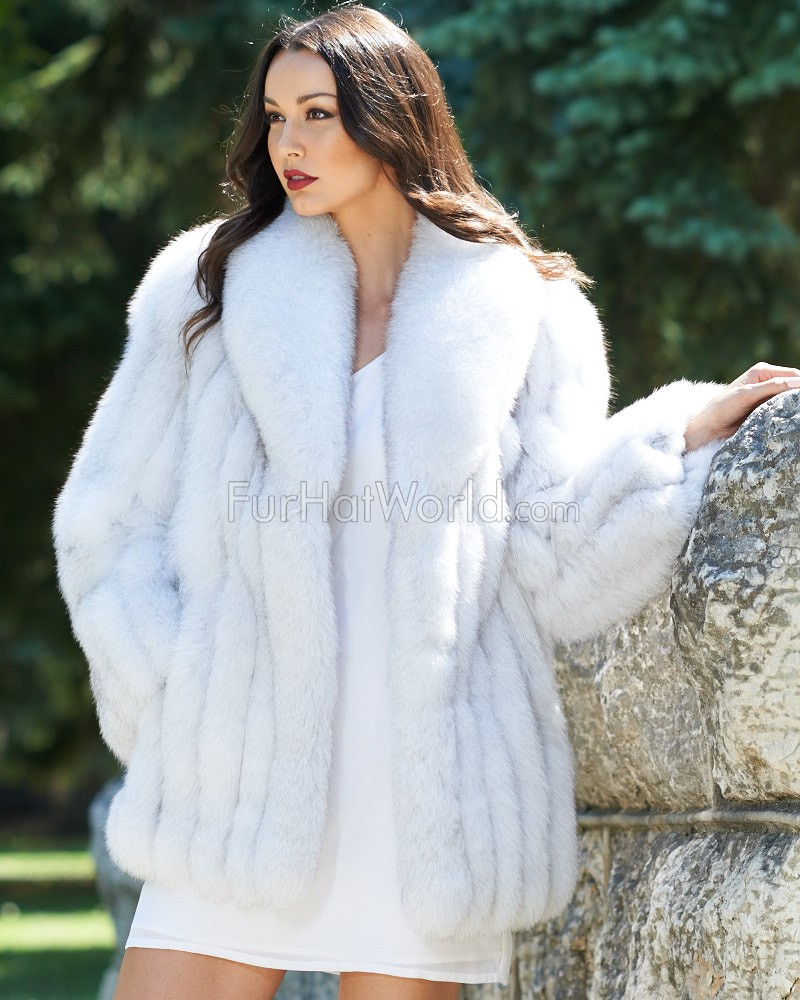 Colette Blue Fox Fur Jacket with Large Collar: FurHatWorld.com