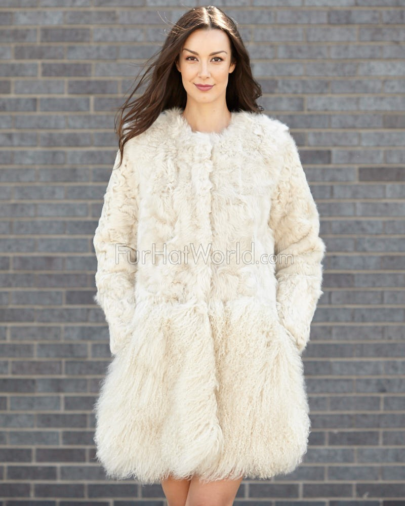 Breanna Beige Lamb Fur and Mongolian Coat