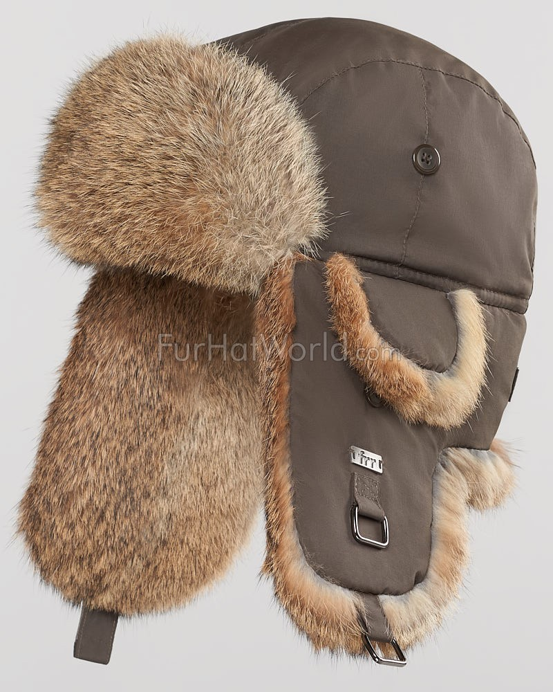 8f27ba9a076 Brown B-52 Aviator Hat with Natural Brown Rabbit Fur for Men ...