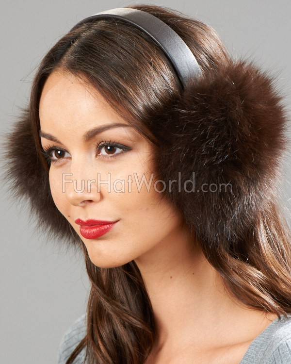Brown Fox Fur Ear Muffs with Leather Band