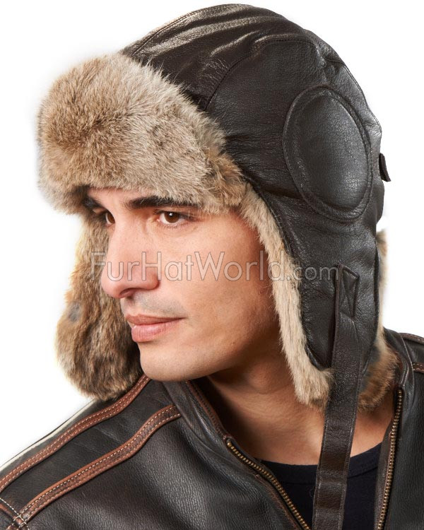 Brown Leather Pilot Hat with Brown Rabbit Fur