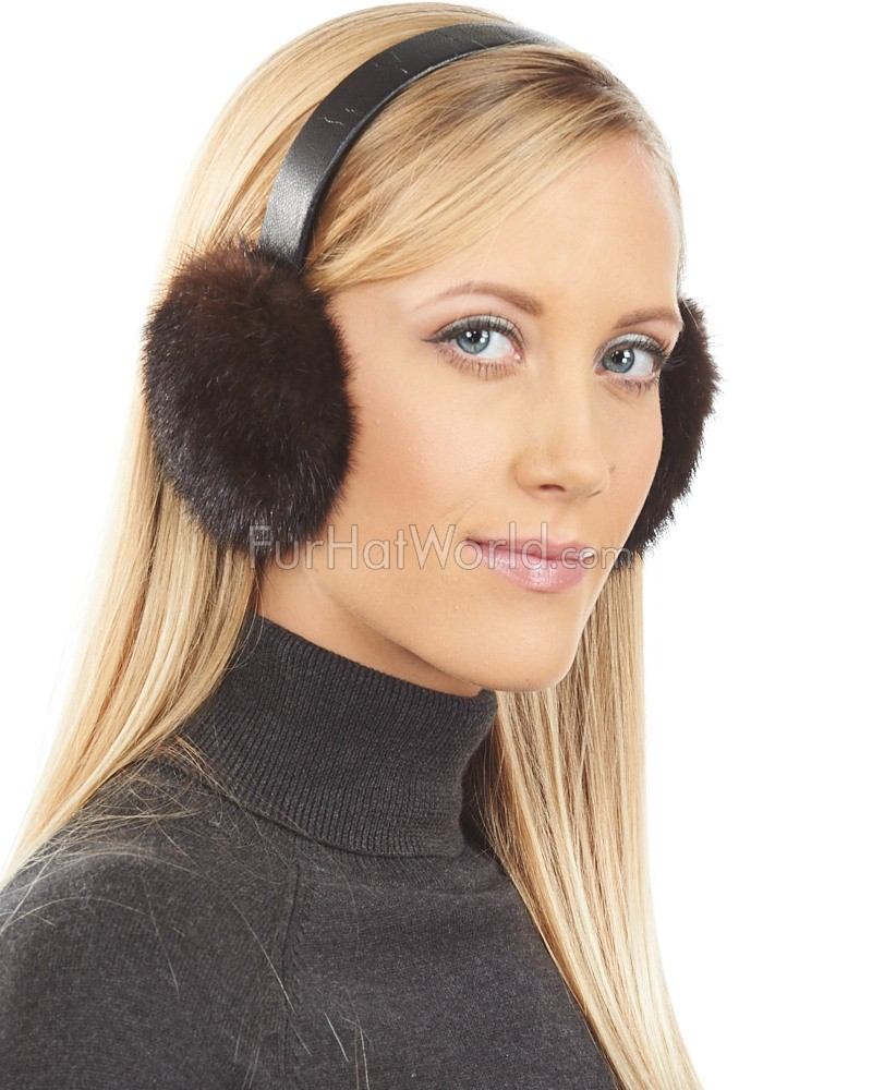 Chocolate Brown Mink Fur Earmuffs with Leather Band