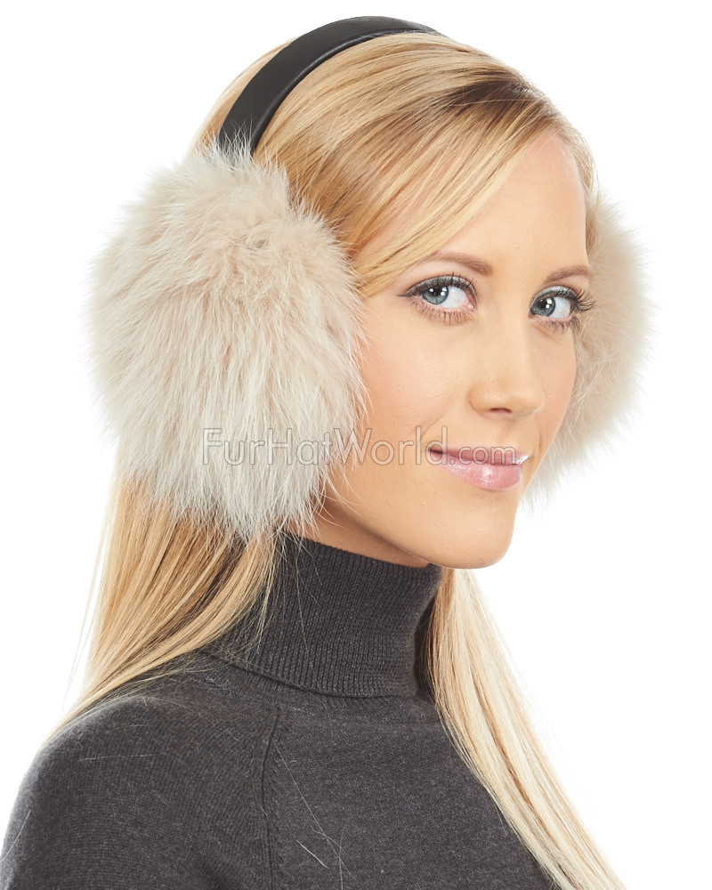 Buff Fox Fur Ear Muffs with Brown Leather Band