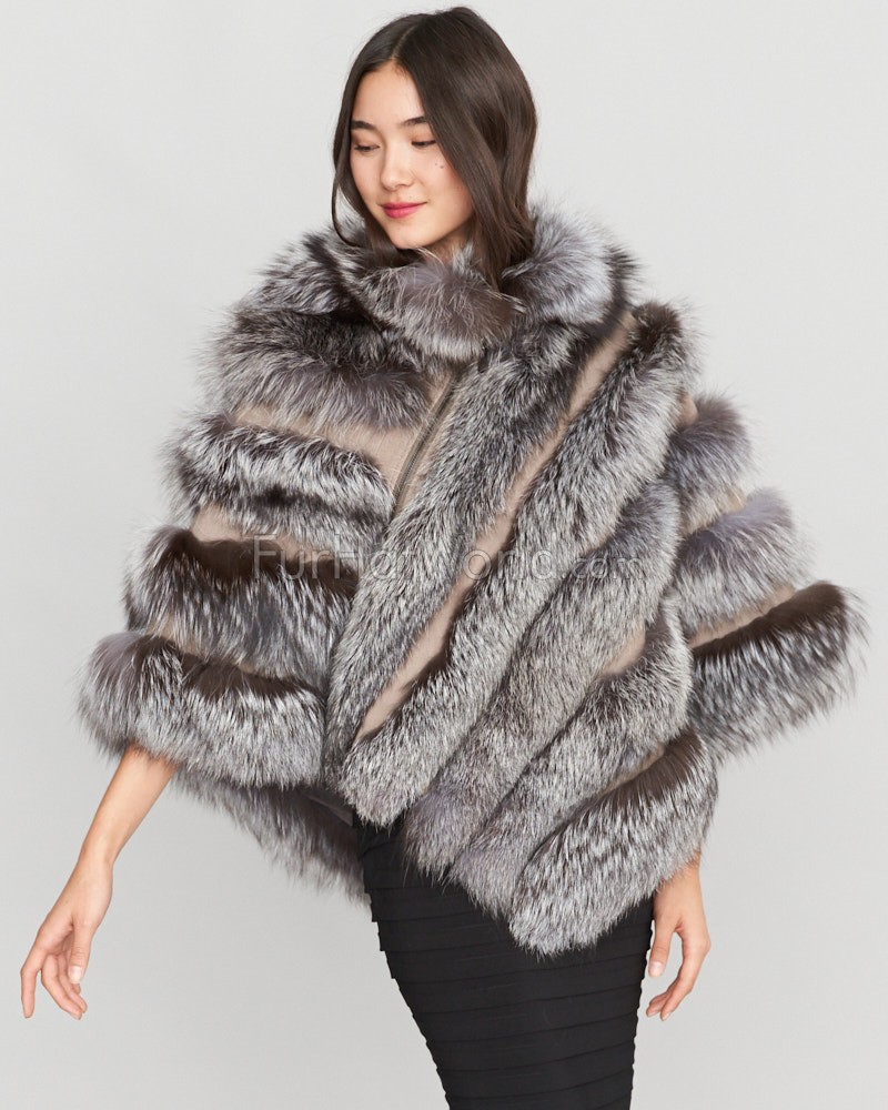Camille Asymmetrical Tiered Silver Fox Fur Poncho