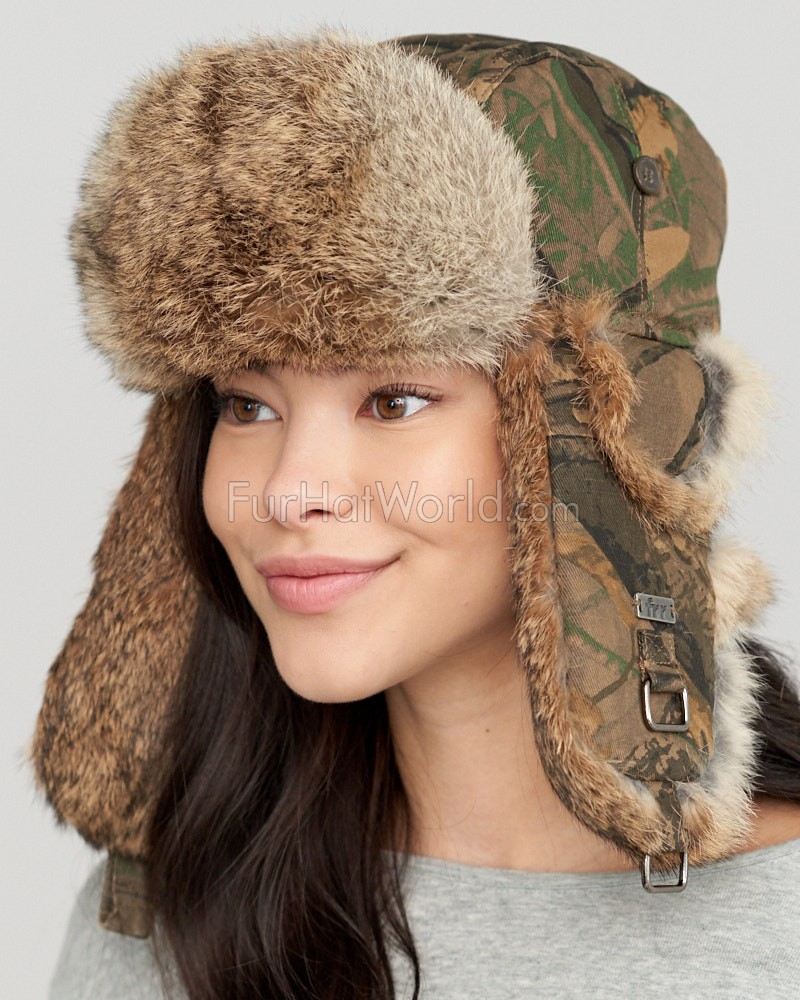 Camouflage Trapper hat with Natural Brown Rabbit Fur