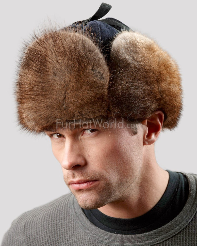 Canadian RCMP Muskrat Fur Jockey Trapper Hat for Men