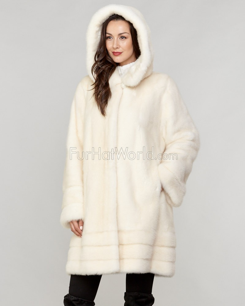Carolyn Long Hair Mink Fur Coat in Pearl